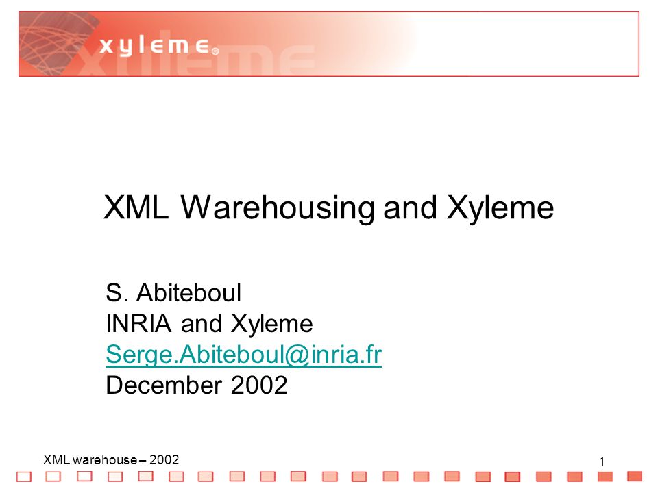22 XML warehouse – 2002 22 Main functionalities (2) Repository Storage of massive volume of XML (terabytes) Indexing of massive volume of XML –By structure –By full-text –Linguistic support: stemming, synonyms, etc.