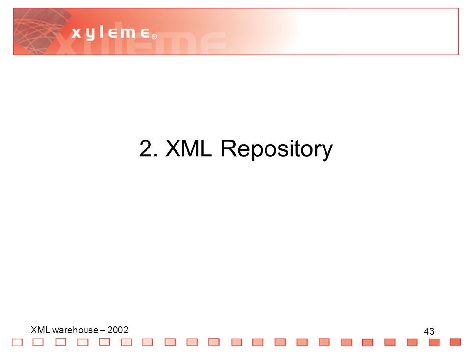 43 XML warehouse – 2002 43 2. XML Repository