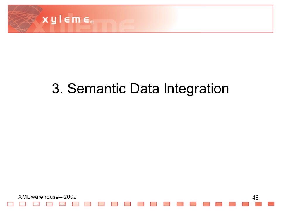 48 XML warehouse – 2002 48 3. Semantic Data Integration
