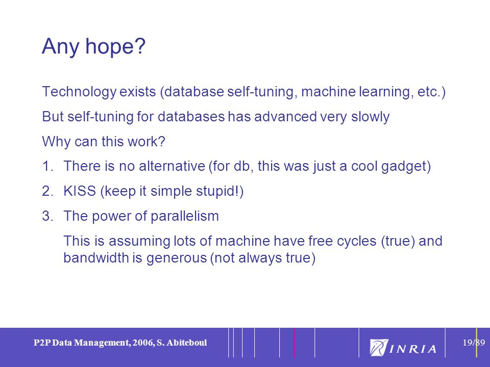 19 P2P Data Management, 2006, S. Abiteboul19/89 Any hope? Technology exists (database self-tuning, machine learning, etc.) But self-tuning for databas