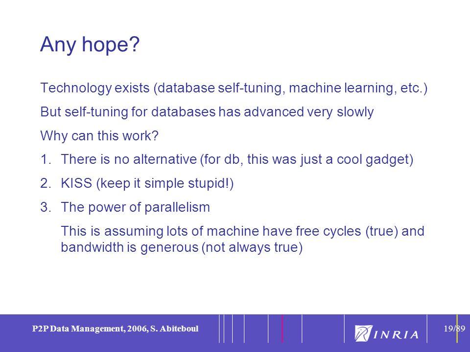 19 P2P Data Management, 2006, S.Abiteboul19/89 Any hope.