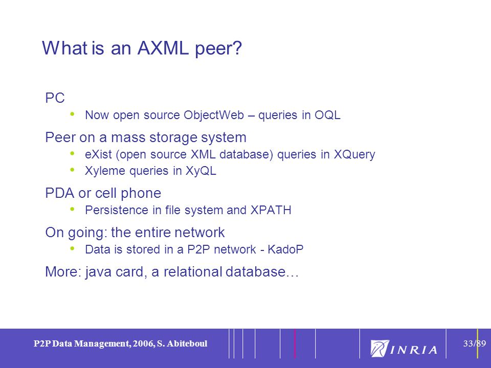 33 P2P Data Management, 2006, S. Abiteboul33/89 What is an AXML peer? PC Now open source ObjectWeb – queries in OQL Peer on a mass storage system eXis