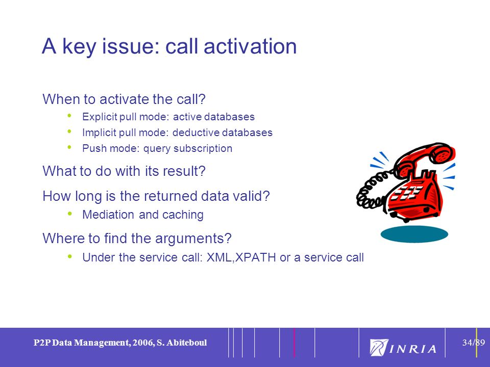 34 P2P Data Management, 2006, S. Abiteboul34/89 A key issue: call activation When to activate the call? Explicit pull mode: active databases Implicit