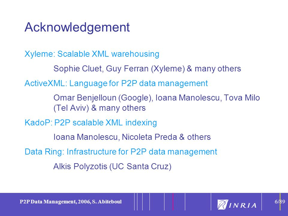 6 P2P Data Management, 2006, S. Abiteboul6/89 Acknowledgement Xyleme: Scalable XML warehousing Sophie Cluet, Guy Ferran (Xyleme) & many others ActiveX