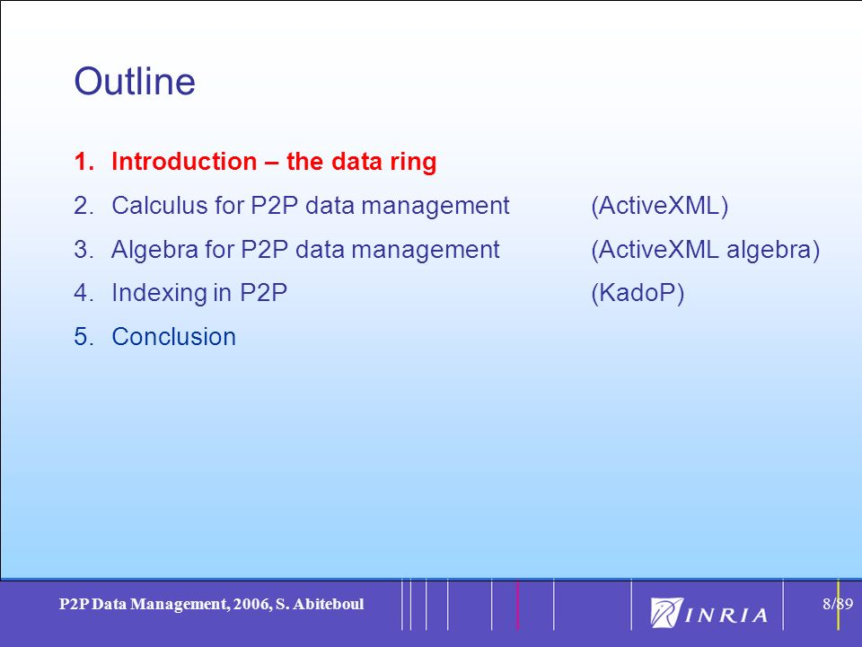 8 P2P Data Management, 2006, S. Abiteboul8/89 Outline 1.Introduction – the data ring 2.Calculus for P2P data management(ActiveXML) 3.Algebra for P2P d