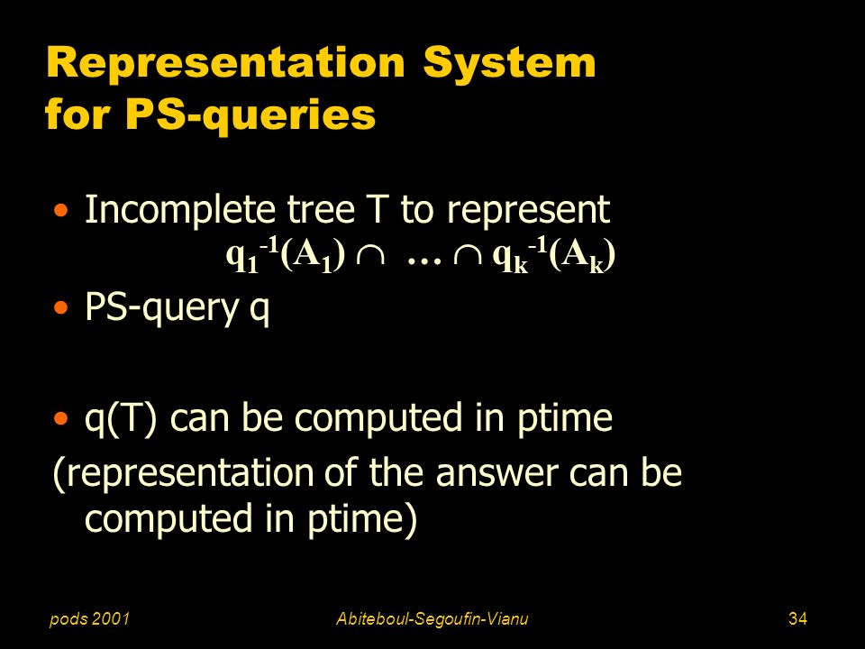 pods 2001Abiteboul-Segoufin-Vianu34 Representation System for PS-queries Incomplete tree T to represent q 1 -1 (A 1 ) … q k -1 (A k ) PS-query q q(T)