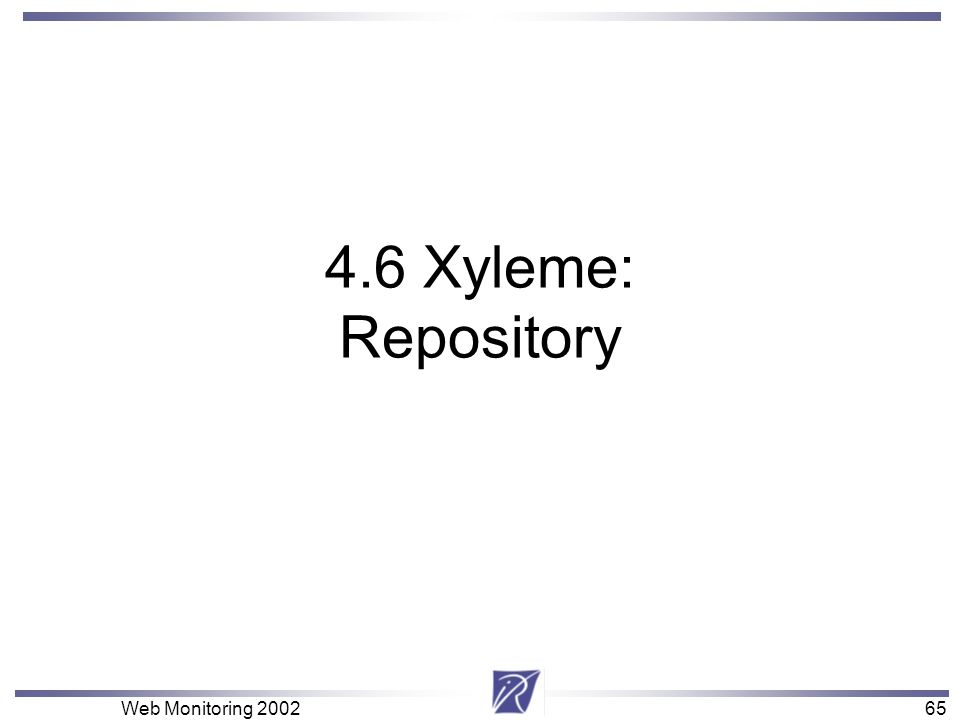 65 Web Monitoring 200265 4.6 Xyleme: Repository