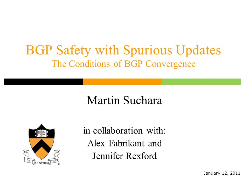 BGP Safety with Spurious Updates The Conditions of BGP Convergence Martin Suchara in collaboration with: Alex Fabrikant and Jennifer Rexford January 12, 2011