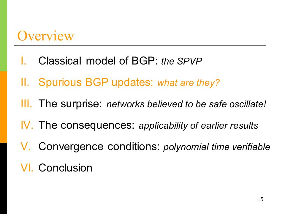 15 Overview I.Classical model of BGP: the SPVP III.The surprise: networks believed to be safe oscillate.