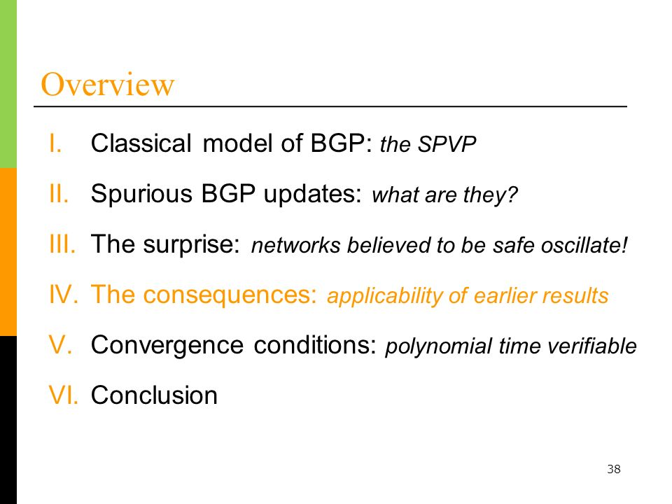 38 Overview I.Classical model of BGP: the SPVP III.The surprise: networks believed to be safe oscillate.