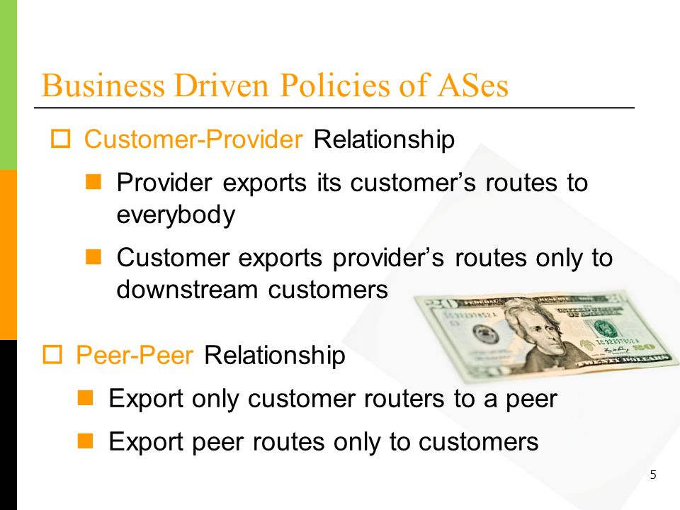 5 Business Driven Policies of ASes Peer-Peer Relationship Export only customer routers to a peer Export peer routes only to customers Customer-Provider Relationship Provider exports its customers routes to everybody Customer exports providers routes only to downstream customers