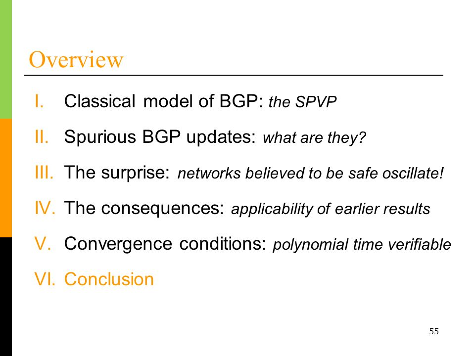 55 Overview I.Classical model of BGP: the SPVP III.The surprise: networks believed to be safe oscillate.