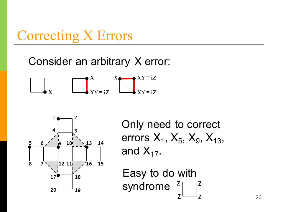 26 Correcting X Errors 12 3 4 56 78 1314 1516 1718 19 20 9 10 1112 Only need to correct errors X 1, X 5, X 9, X 13, and X 17.