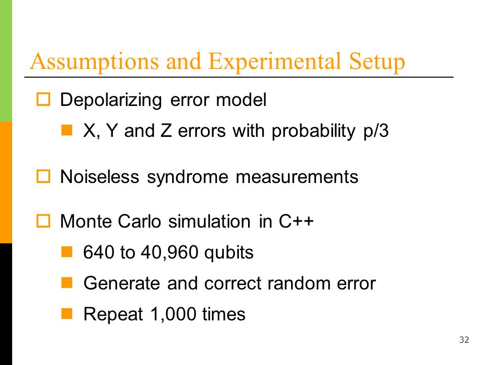 32 Assumptions and Experimental Setup Depolarizing error model X, Y and Z errors with probability p/3 Noiseless syndrome measurements Monte Carlo simulation in C++ 640 to 40,960 qubits Generate and correct random error Repeat 1,000 times