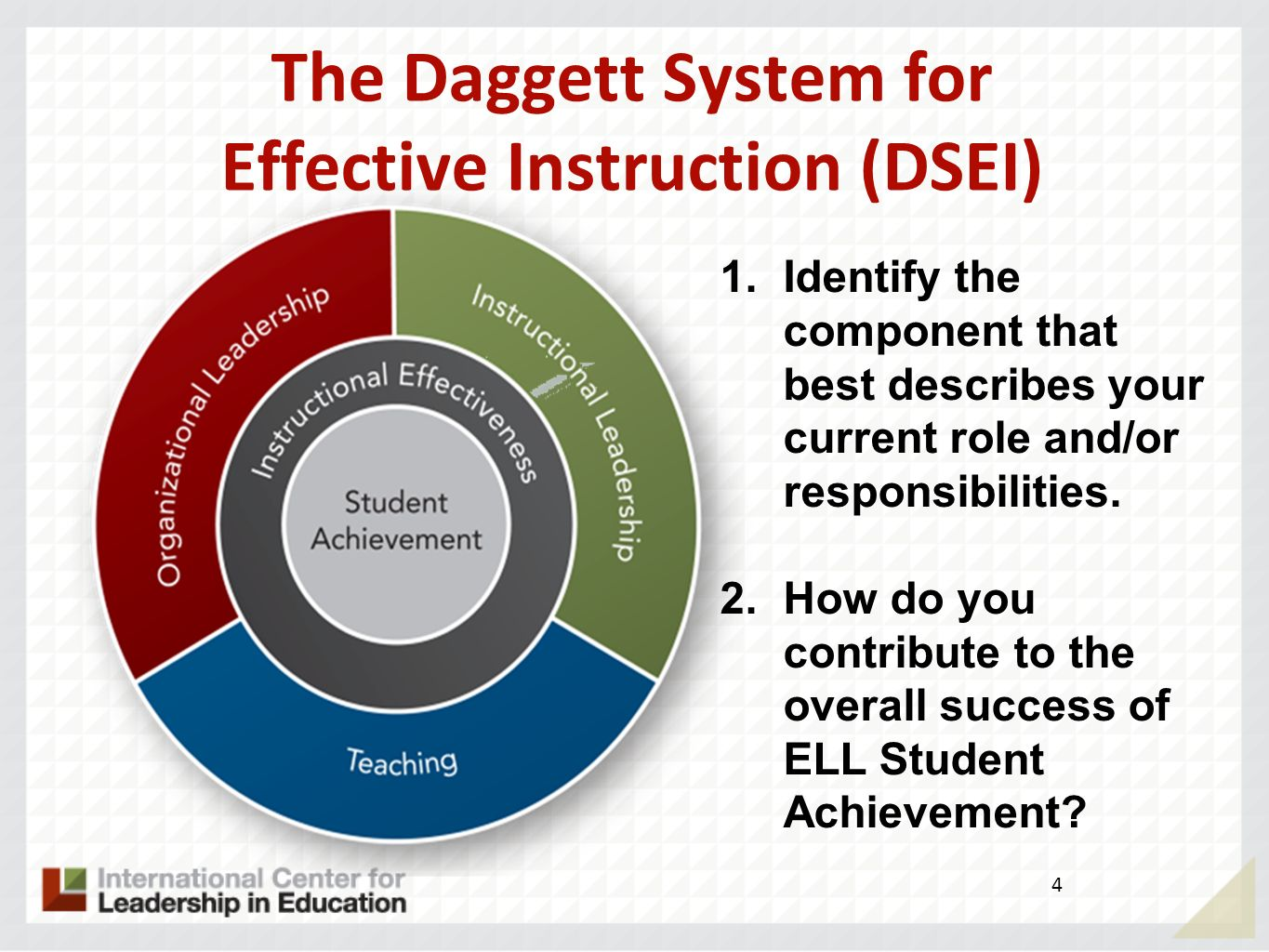 Objectives Content Objective G ain knowledge and understanding of… The Rigor/Relevance Framework to close the achievement gap and ensure the academic and linguistic success of ELLs.