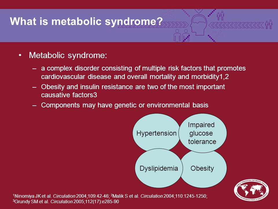 What is metabolic syndrome? Metabolic syndrome: –a complex disorder consisting of multiple risk factors that promotes cardiovascular disease and overa