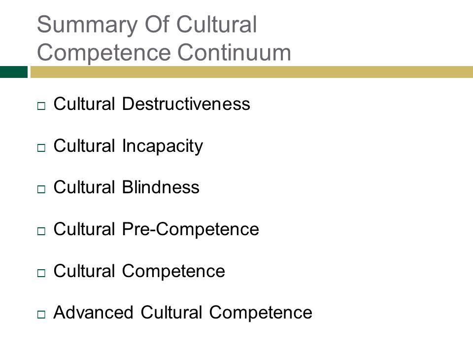 Summary Of Cultural Competence Continuum Cultural Destructiveness Cultural Incapacity Cultural Blindness Cultural Pre-Competence Cultural Competence A