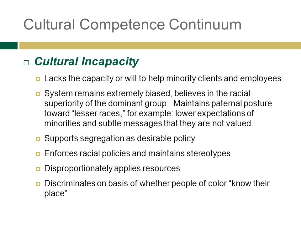 Cultural Incapacity Lacks the capacity or will to help minority clients and employees System remains extremely biased, believes in the racial superior