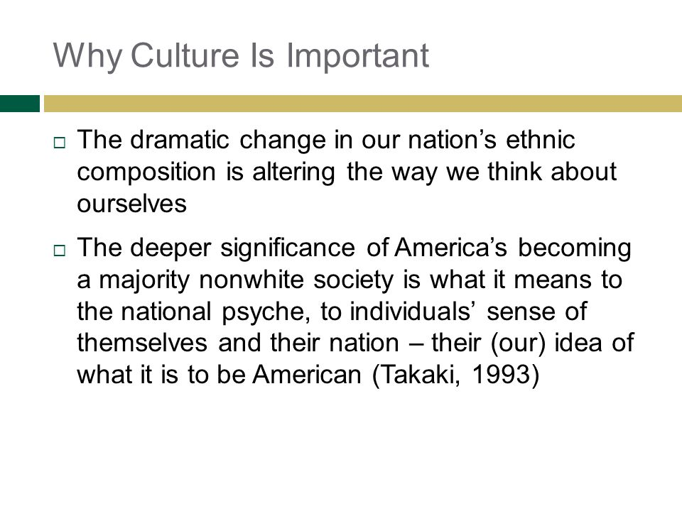 Why Culture Is Important The dramatic change in our nations ethnic composition is altering the way we think about ourselves The deeper significance of