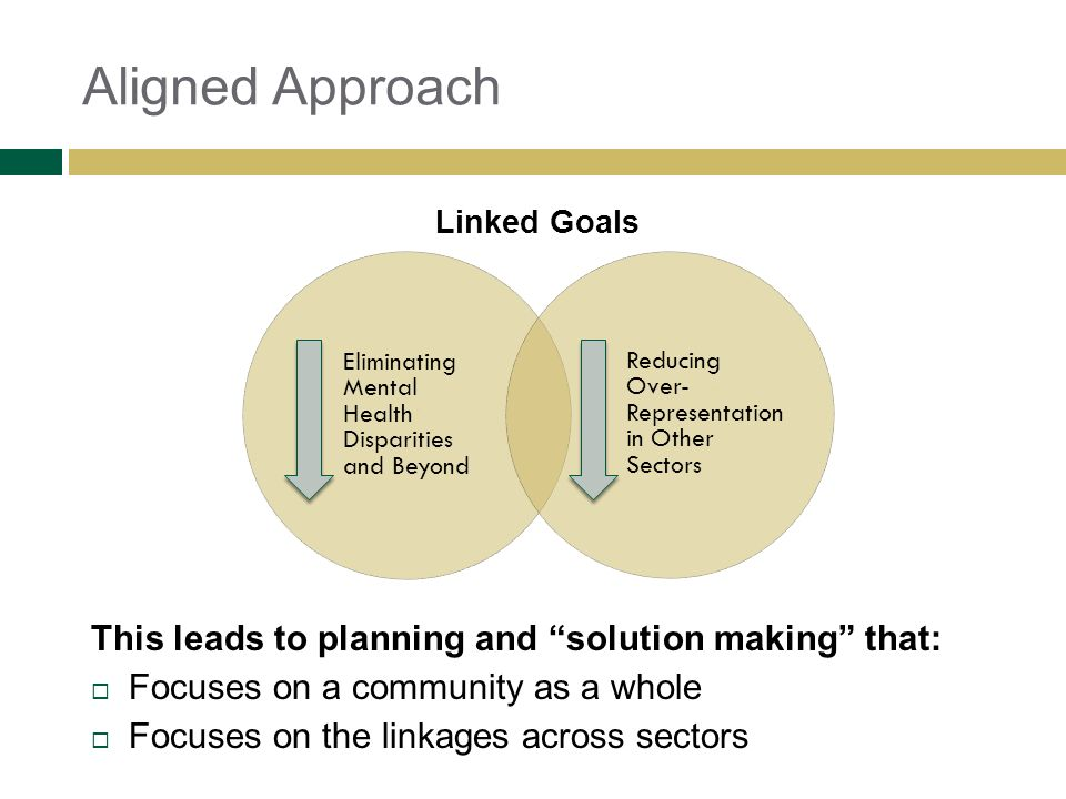 Aligned Approach Eliminating Mental Health Disparities and Beyond Reducing Over- Representation in Other Sectors Linked Goals This leads to planning a