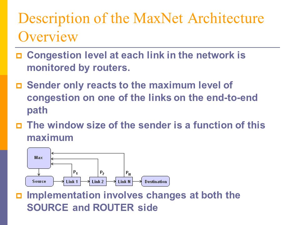 Description of the MaxNet Architecture Overview Congestion level at each link in the network is monitored by routers.