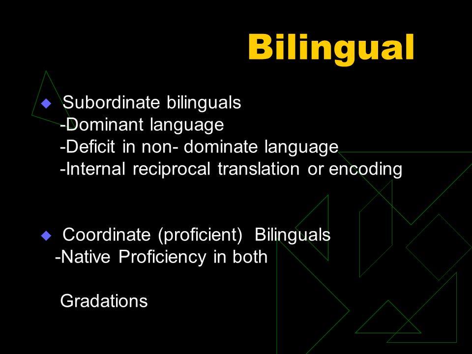 Bilingual Subordinate bilinguals -Dominant language -Deficit in non- dominate language -Internal reciprocal translation or encoding Coordinate (profic