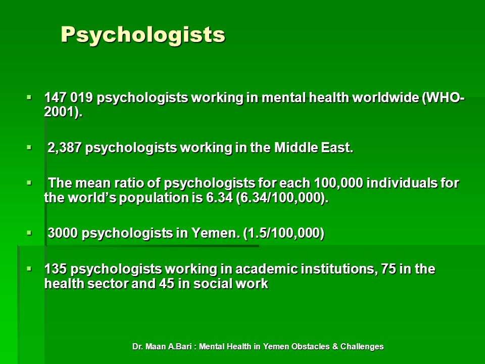 Dr. Maan A.Bari : Mental Health in Yemen Obstacles & Challenges Psychologists 147 019 psychologists working in mental health worldwide (WHO- 2001). 14