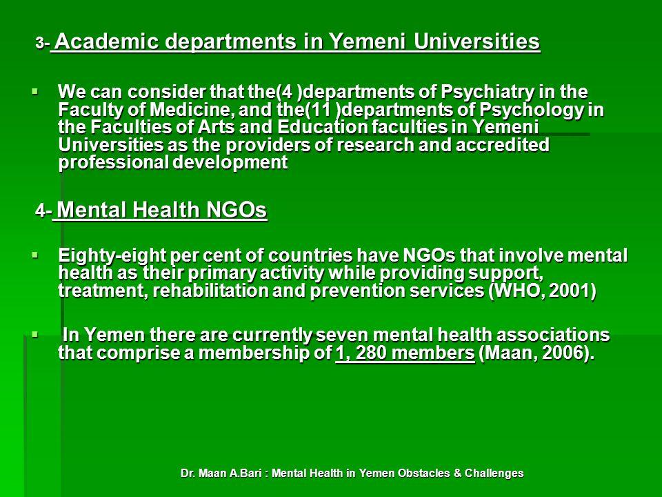 Dr. Maan A.Bari : Mental Health in Yemen Obstacles & Challenges 3- Academic departments in Yemeni Universities 3- Academic departments in Yemeni Unive