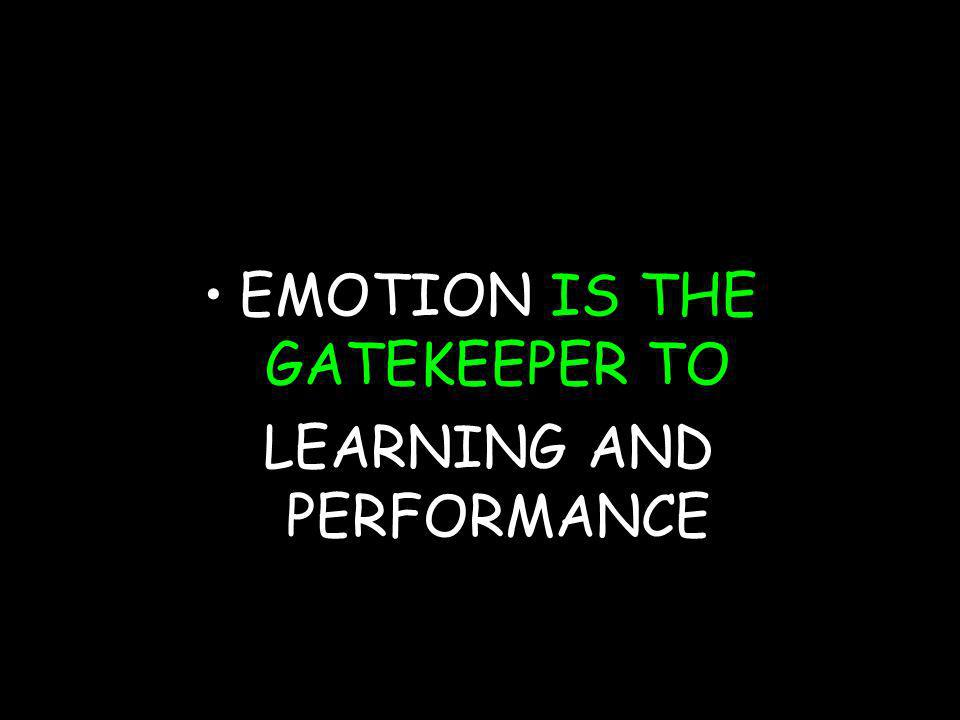 (c) susan kovalik The Center for Effective Learning 15 EMOTION IS THE GATEKEEPER TO LEARNING AND PERFORMANCE