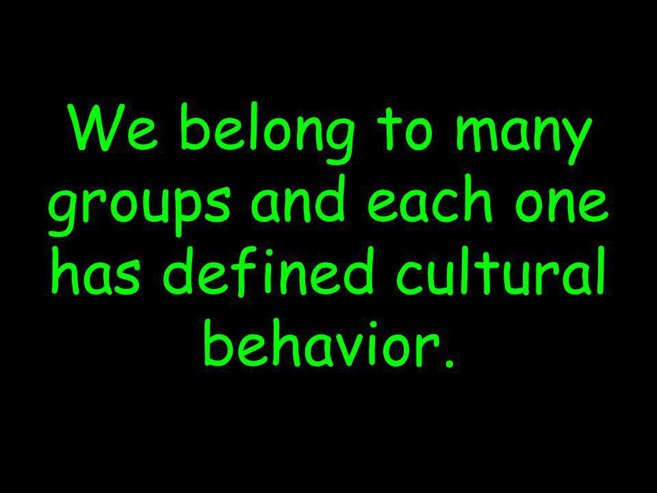 (c) susan kovalik The Center for Effective Learning 24 We belong to many groups and each one has defined cultural behavior.