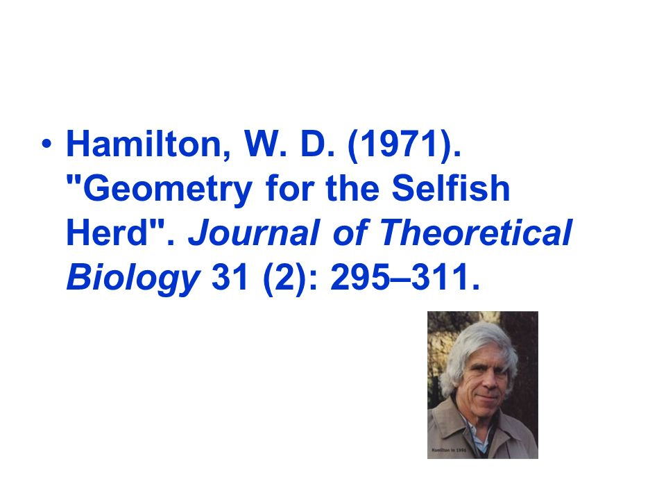 Hamilton, W.D. (1971). Geometry for the Selfish Herd .