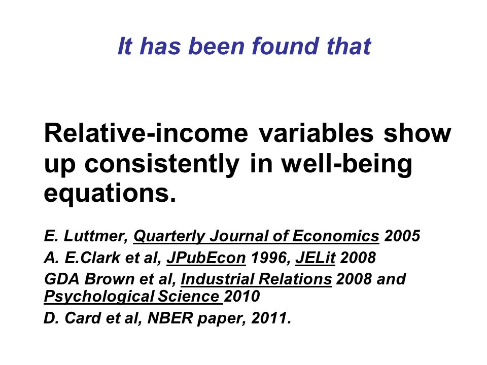 It has been found that Relative-income variables show up consistently in well-being equations.