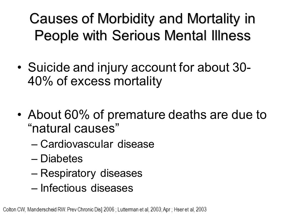 Causes of Morbidity and Mortality in People with Serious Mental Illness Suicide and injury account for about 30- 40% of excess mortality About 60% of premature deaths are due to natural causes –Cardiovascular disease –Diabetes –Respiratory diseases –Infectious diseases Colton CW, Manderscheid RW.