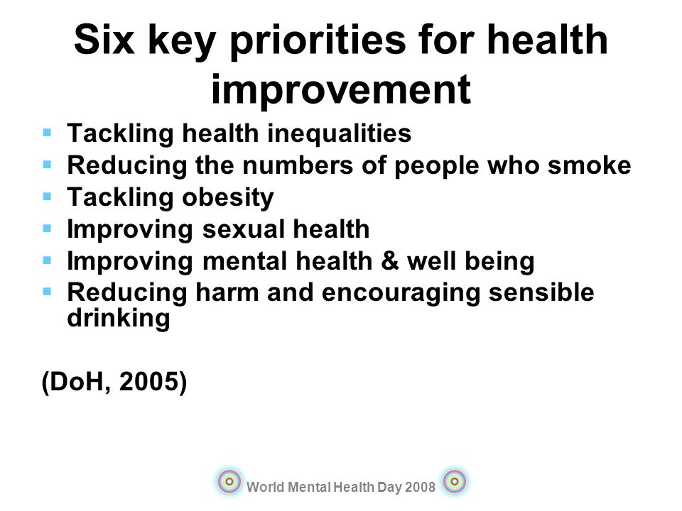 World Mental Health Day 2008 Six key priorities for health improvement Tackling health inequalities Reducing the numbers of people who smoke Tackling