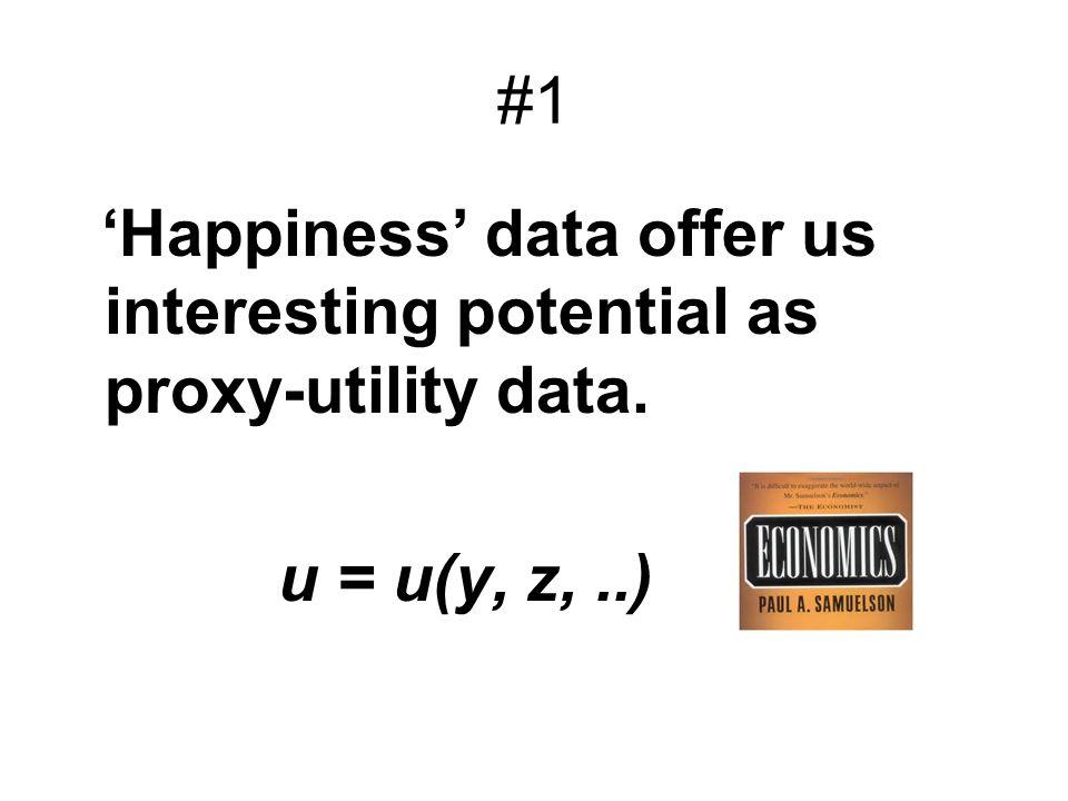 #1 Happiness data offer us interesting potential as proxy-utility data. u = u(y, z,..)