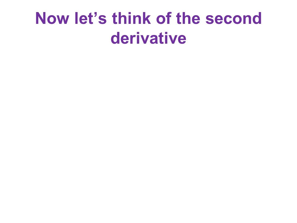 Now lets think of the second derivative