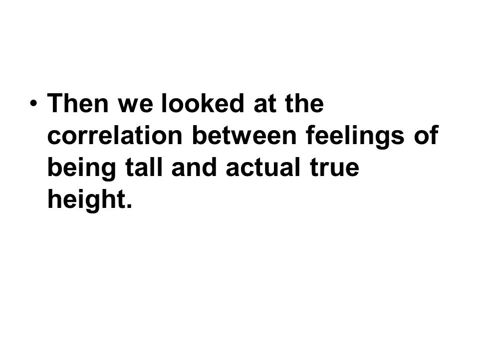 Then we looked at the correlation between feelings of being tall and actual true height.