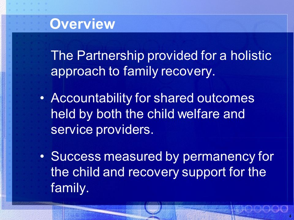 4 Overview The Partnership provided for a holistic approach to family recovery.