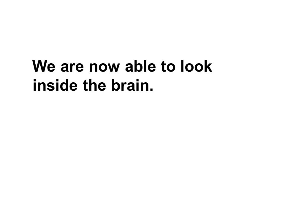 We are now able to look inside the brain.