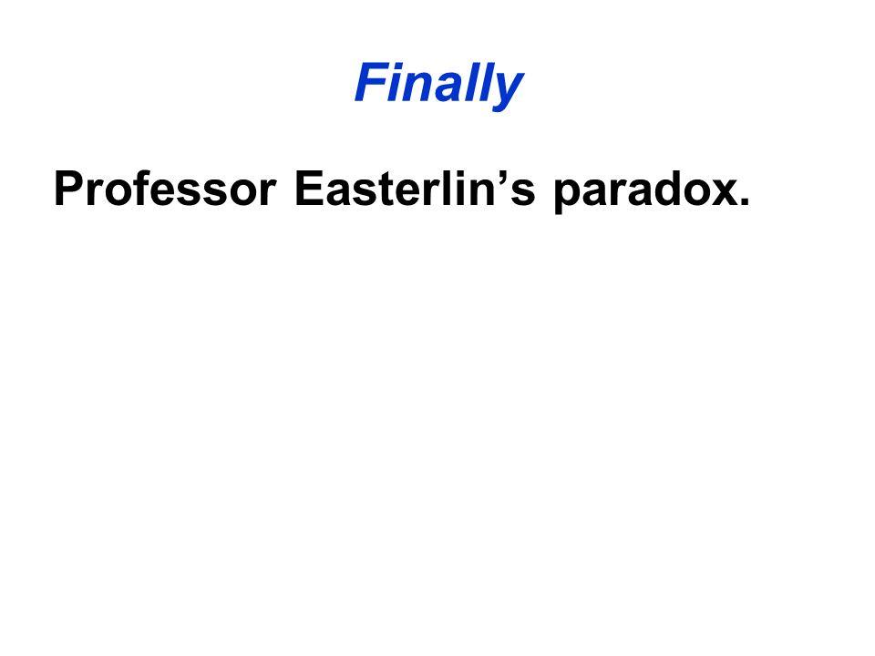 Finally Professor Easterlins paradox.