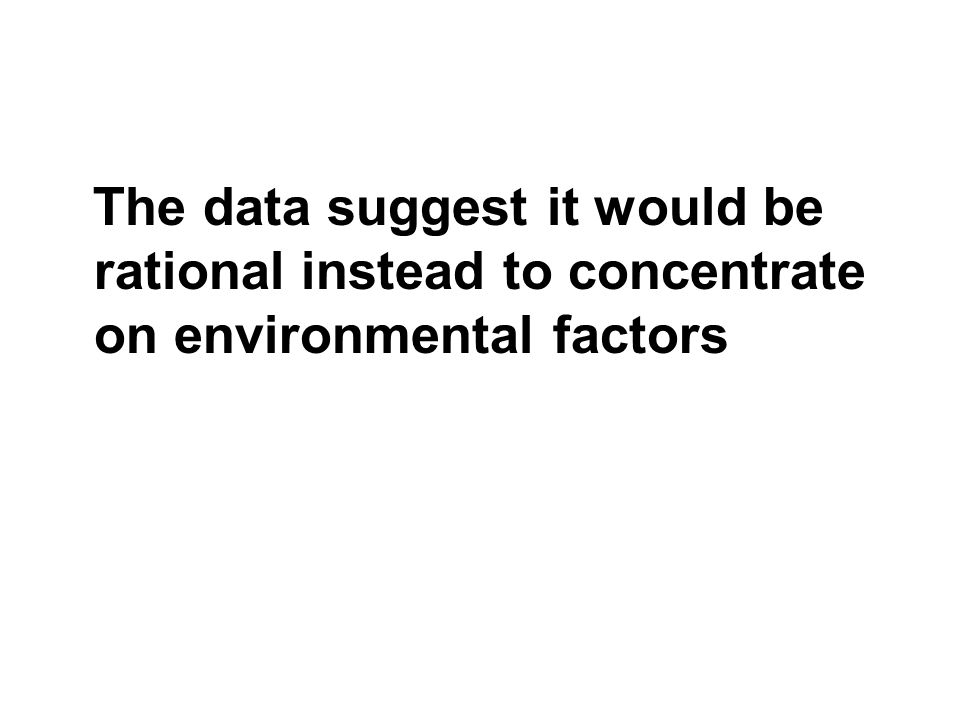 The data suggest it would be rational instead to concentrate on environmental factors