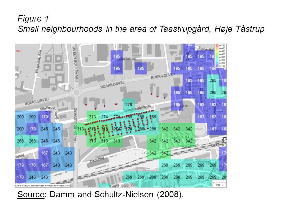 Figure 1 Small neighbourhoods in the area of Taastrupgård, Høje Tåstrup Source: Damm and Schultz-Nielsen (2008).