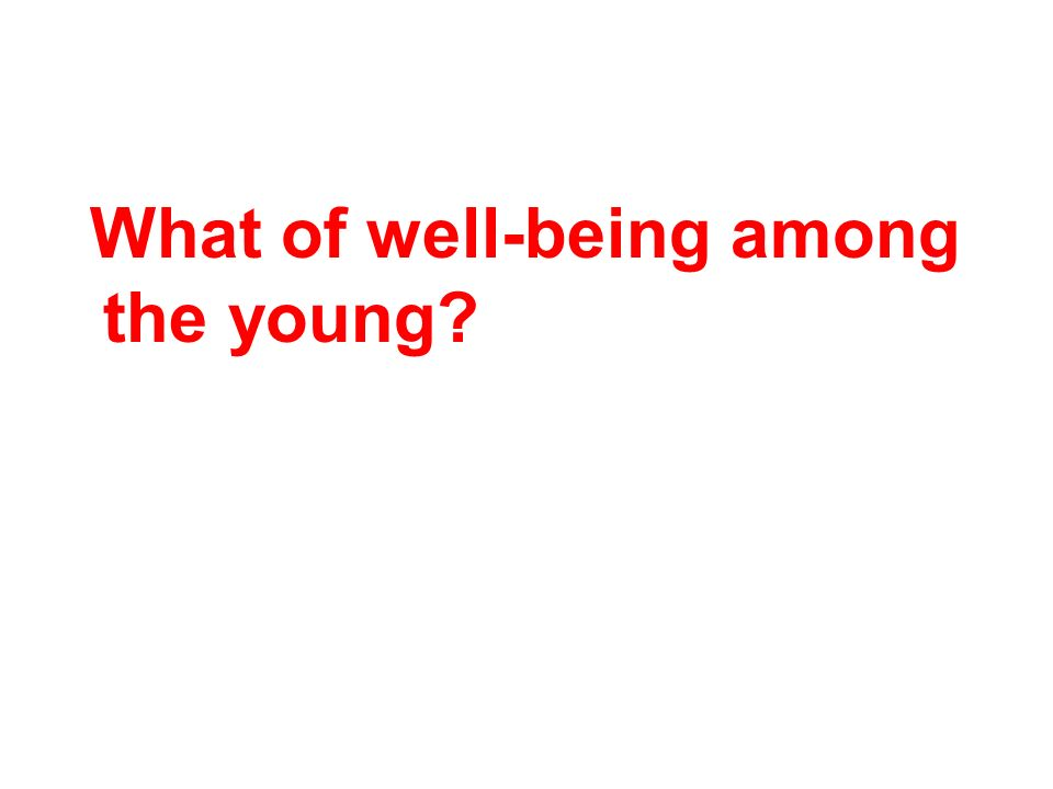 What of well-being among the young?