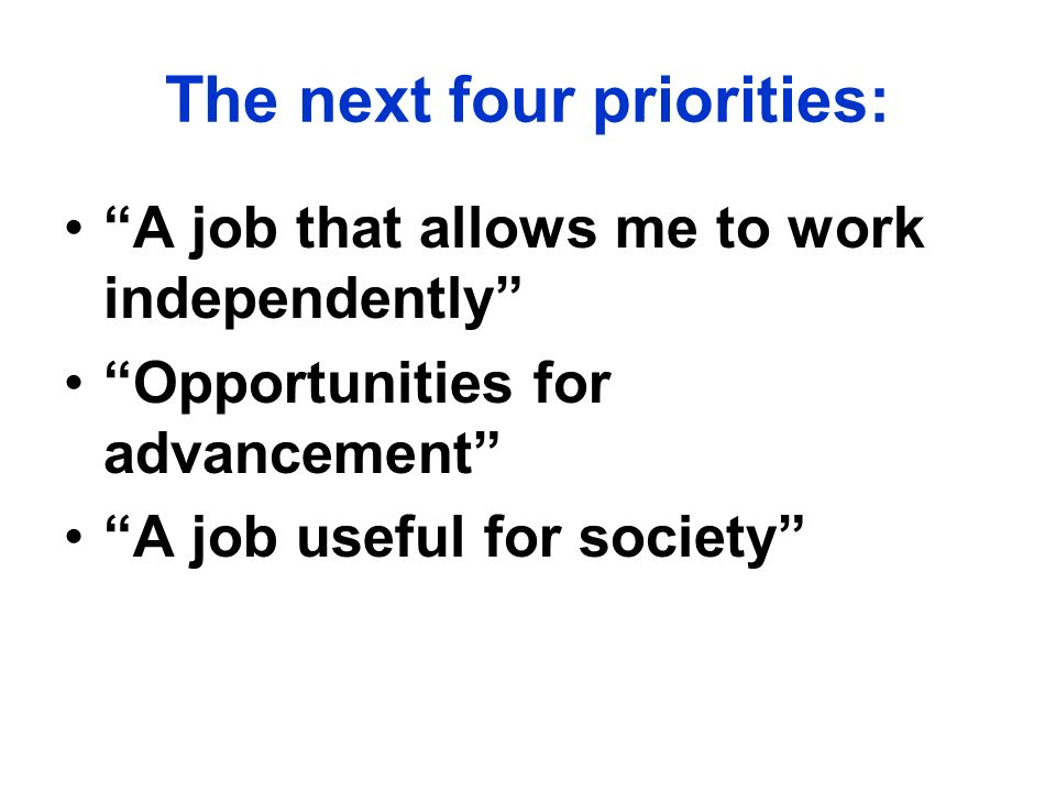 The next four priorities: A job that allows me to work independently Opportunities for advancement A job useful for society