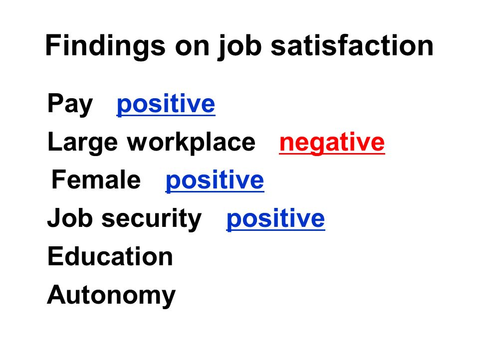 Findings on job satisfaction Pay positive Large workplace negative Female positive Job security positive Education Autonomy