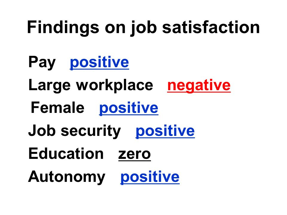 Findings on job satisfaction Pay positive Large workplace negative Female positive Job security positive Education zero Autonomy positive