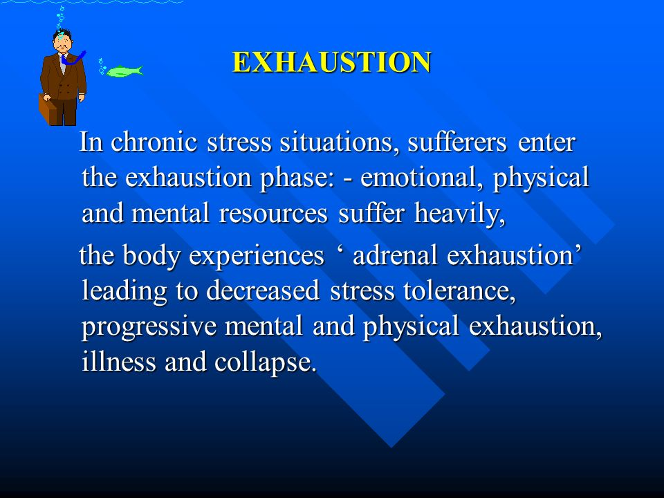 EXHAUSTION In chronic stress situations, sufferers enter the exhaustion phase: - emotional, physical and mental resources suffer heavily, In chronic s