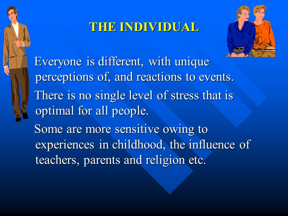 THE INDIVIDUAL Everyone is different, with unique perceptions of, and reactions to events. Everyone is different, with unique perceptions of, and reac