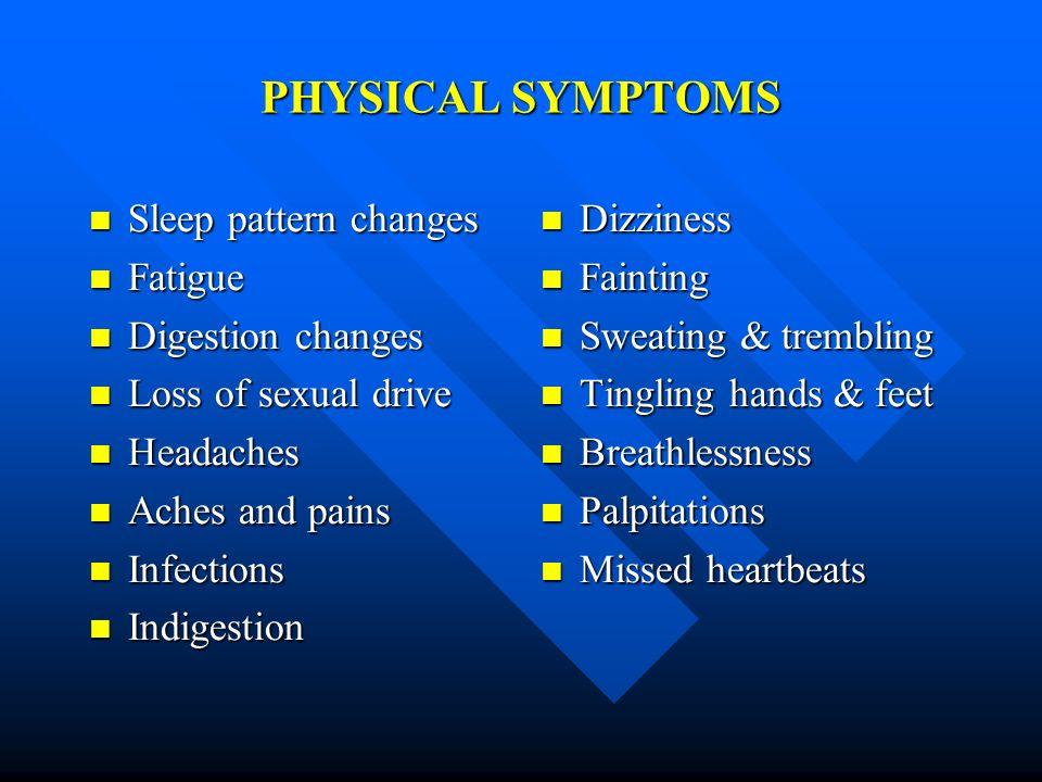 PHYSICAL SYMPTOMS Sleep pattern changes Sleep pattern changes Fatigue Fatigue Digestion changes Digestion changes Loss of sexual drive Loss of sexual