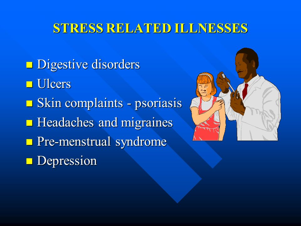 STRESS RELATED ILLNESSES Digestive disorders Digestive disorders Ulcers Ulcers Skin complaints - psoriasis Skin complaints - psoriasis Headaches and m